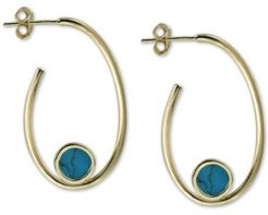 Reconstituted Turquoise Stone Hoop Earrings in 18k Gold-Plated Sterling Silver