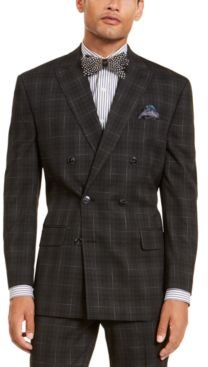 Classic-Fit Stretch Black Plaid Suit Separate Double Breasted Jacket