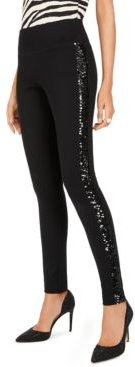 Inc Sequin-Trim Pull-On Ponte Pants, Created for Macy's