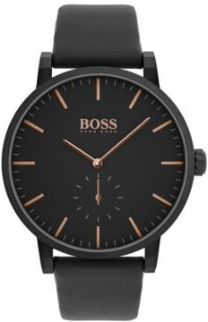 Chronograph Essence Black Leather Strap Watch 42mm