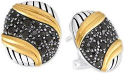 Black Spinel Pave Stud Earrings (2-1/2 ct. t.w.) in Sterling Silver & Gold-Plated Sterling Silver
