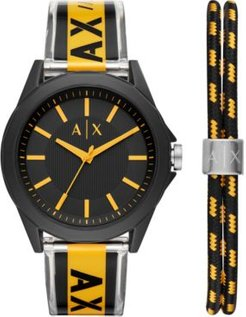 Drexler Black & Yellow Polyurethane Strap Watch 44mm Gift Set