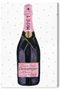 """Champagne and Stars Pink Canvas Art - 15"""" x 10"""" x 1.5"""""""