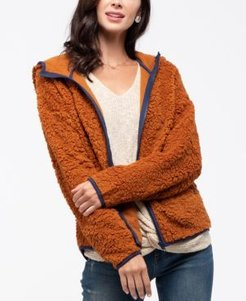 Contrast Trim Teddy Jacket