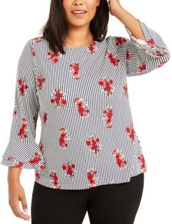 Plus Size Striped Floral-Print Top, Created for Macy's