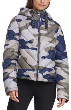 Hooded Camo Quilted Jacket