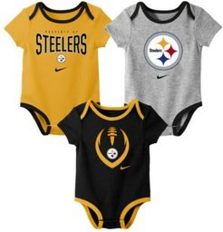 Baby Pittsburgh Steelers Icon 3 Pack Bodysuit Set