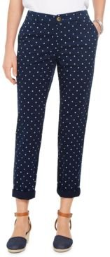 Petite Dot-Print Chino Pants, Created For Macy's