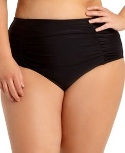 Trendy Plus Size Ruched Tummy-Control High-Waist Bikini Bottoms, Created for Macy's Women's Swimsuit