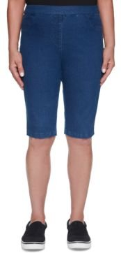 Petite Classics Stretch Denim Pull-On Bermuda Shorts
