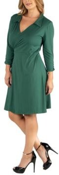 Knee Length Collared Plus Size Wrap Dress
