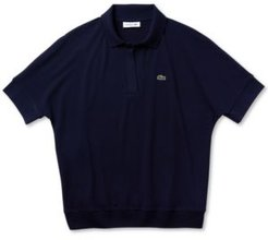 Relaxed Fit Ribbed Stretch Pique Polo Shirt
