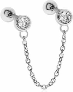 Double Cubic Zirconia Sterling Silver- Tone Ear Chain Studs