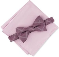 2-Pc. Pre-Tied Grid Bow Tie & Solid Pocket Square Set, Created for Macy's
