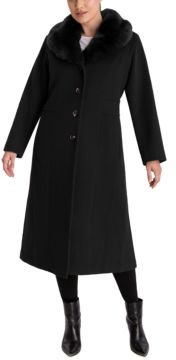 Plus Size Faux-Fur Collar Maxi Coat