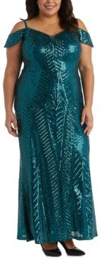 Plus Size Sequinned Cold-Shoulder Gown