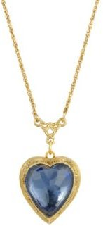 2028 Women's 14K Gold Dipped Blue Glass Heart Necklace