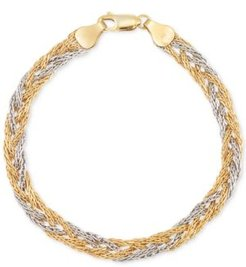Two-Tone Braided Chain Bracelet in 14k Yellow & White Gold