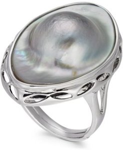 Mabe Blister Pearl (18 x 28mm) Statement Ring in Sterling Silver