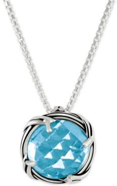 Blue Topaz Adjustable Pendant Necklace (5 ct. t.w.) in Sterling Silver