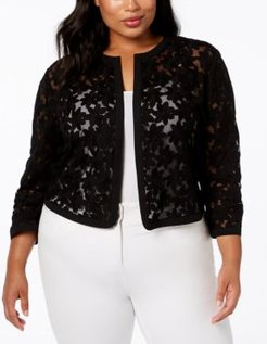 Plus Size Embroidered Cardigan