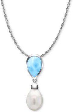 """Freshwater Pearl (9 x 13mm) & Larimar 21"""" Pendant Necklace in Sterling Silver"""