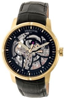 Automatic Ryder Black & Gold & Black Leather Watches 44mm