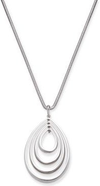 "Silver-Tone Ascending Teardrop 37"" Pendant Necklace, Created for Macy's"