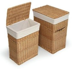 Wicker Two Hamper Set with Liners