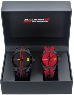 RedRev Red & Black Rubber Strap Watch 44mm & 38mm Gift Set