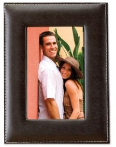 "Dark Brown Leather Picture Frame - 4"" x 6"""