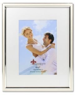 "Matted Ivory Enamel and Silver Metal Picture Frame - 8"" x 10"" without Mat - 5"" x 7"""