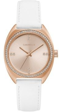 Designed by Bulova Women's Crystal White Leather Strap Watch 32mm