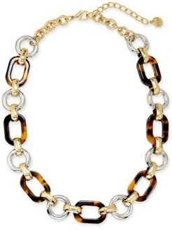"""Two-Tone & Tortoise-Look Chain Link Collar Necklace, 17"""" + 2"""" extender, Created for Macy's"""