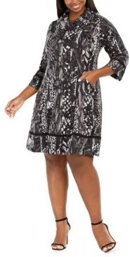 Plus Size Cowlneck Printed Sweater Dress