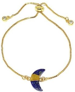 Gold Plated Pull Chain Bracelet with Crescent Moon Electroform Lapis Stone