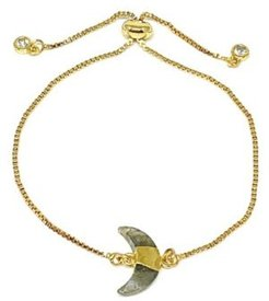 Gold Plated Pull Chain Bracelet with Labradorite Electroform Stone