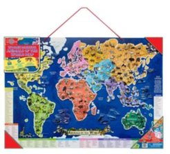 Wooden Magnetic Animals of The World Map