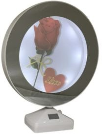 "Round Lighted Mirrored Photo Frame 6"" and Mirror When Not Lighted - 2 In 1"