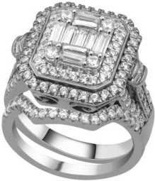 Composite Twin Set Diamond( 2 ct. t.w.) Ring in 14K White Gold