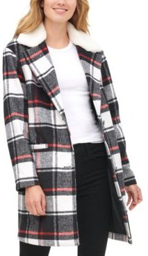 Plaid Faux Fur Collar Jacket