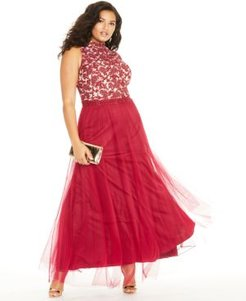 Trendy Plus Size Rhinestone Embroidered Gown