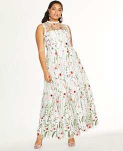 Trendy Plus Size Embroidered Floral Gown