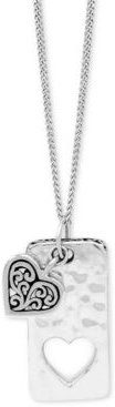 """Heart & Dog Tag Pendant Necklace in Sterling Silver, 18"""" + 2"""" extender"""