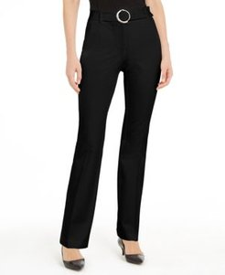 Petite Belted Wide-Waistband Trouser Pants, Created for Macy's