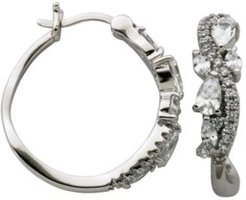 Cubic Zirconia Scattered Pave X-Small Hoop Earrings in Fine Silver Plate