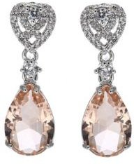 Silver-Tone Pink Topaz Accent Pear Shaped Earrings