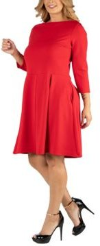 Knee Length Fit N Flare Plus Size Dress with Pockets
