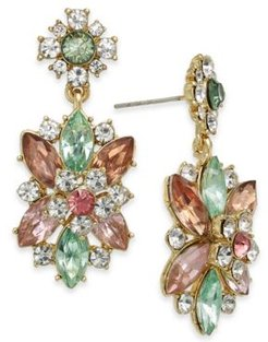 Gold-Tone Crystal & Stone Flower Statement Earrings, Created For Macy's