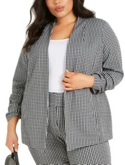 Plus Size Gingham Ruched-Sleeve Jacket, Created For Macy's